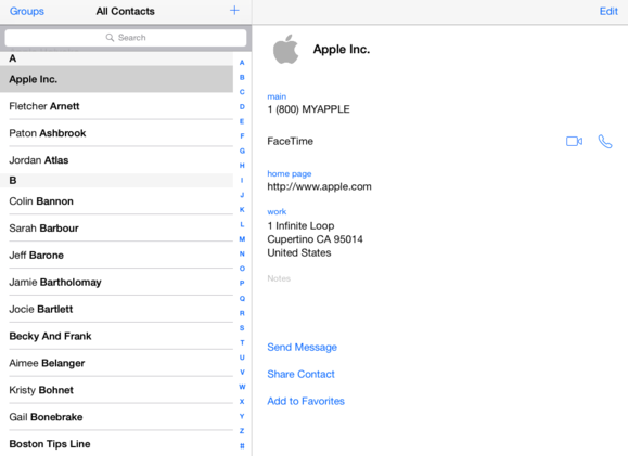 Contacts on iPad in iOS7