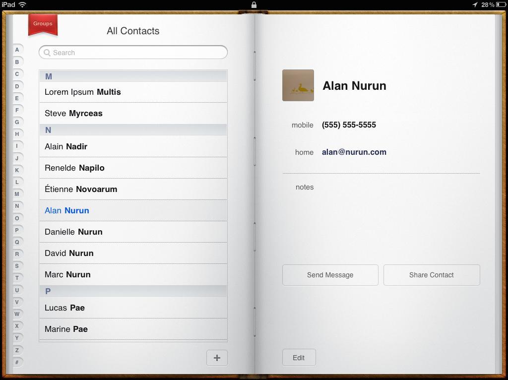 The Contacts app on iPad in iOS6 visually recalls a printed book.